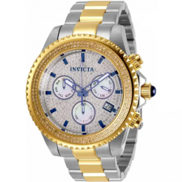 INVICTA 31992 MEN'S PRO DIVER CHRONOGRAPH DIAMOND ACCENTED SILVER DIAL WATCH