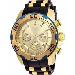 INVICTA 22345 MEN'S PRO DIVER QUARTZ CHRONOGRAPH GOLD DIAL SILICONE LARGE SIZE WATCH