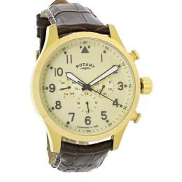 ROTARY GS00419/31 MEN'S CHRONOGRAPH GOLD PLATED QUARTZ BROWN LEATHER WATCH