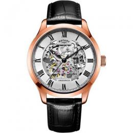 ROTARY GS02942/01 MEN'S GREENWICH ROSE GOLD SKELETON WATCH