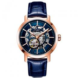 ROTARY GS05354/05 MEN'S GREENWICH ROSE GOLD AUTOMATIC SKELETON WATCH