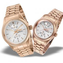 INVICTA HIS N HER'S SPECIALTY ROSE GOLD MULTI-FUNCTION WATCH