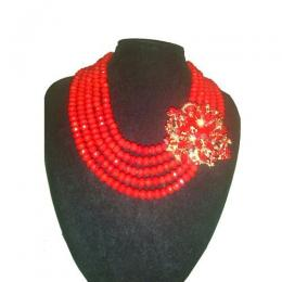 House of beauty 5layers beads + 1 quality brooch-Red