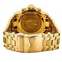 INVICTA 0072 MEN PRO DIVER QUARTZ CHRONOGRAPH GOLD PLATED STAINLESS STEEL BLACK DIAL WATCH