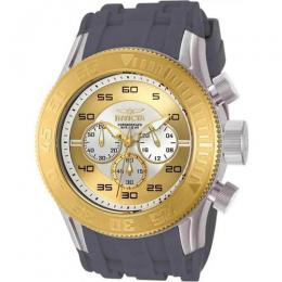 INVICTA 14975 MEN'S PRO DIVER QUARTZ MULTIFUNCTION ANTIQUE SILVER, GOLD DIAL LARGE WATCH