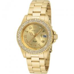INVICTA 19513 WOMEN'S ANGEL QUARTZ 3 HAND GOLD DIAL LARGE WATCH