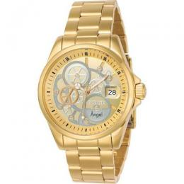 INVICTA 23568 WOMEN'S ANGEL QUARTZ 3 HAND GOLD, SILVER DIAL LARGE WATCH