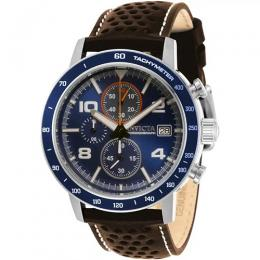 INVICTA 30933 MEN'S AVIATOR BLUE DIAL BROWN LEATHER WATCH