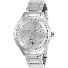 INVICTA 27437 WOMEN'S ANGEL QUARTZ 3 HAND SILVER DIAL WATCH