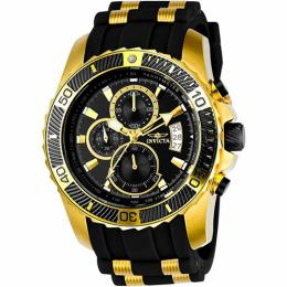 Invicta 22430 Men's Pro Diver Quartz Multifunction Black Dial Silicone Watch