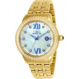 INVICTA 23662 Women's Angel 48 Crystal Gold-Tone Mother Of Pearl Dial Watch