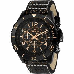 Invicta 24554 Men's Aviator Quartz Multifunction Black Dial Leather Watch
