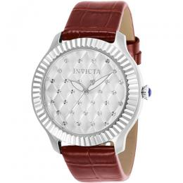 Invicta 25743 Women's Angel Quartz 3 Hand Silver Dial Burgundy Leather Watch