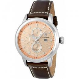 S.COIFMAN SC0410 MEN'S QUARTZ ROSE GOLD DIAL BROWN LEATHER WATCH