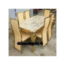 Marble Gold Leviet2 Dining Set Furniture + 6 Dinning Chairs