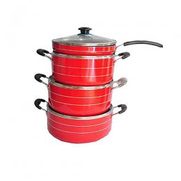 Hoffner 3 Sets Non-Stick Pots And Frying Pan- Red