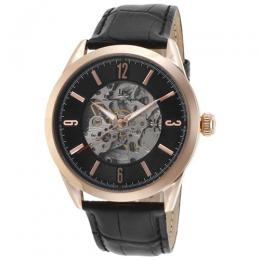 Lucien Piccard LP-10660A-RG-01 Men's Loft Black Genuine Leather Watch