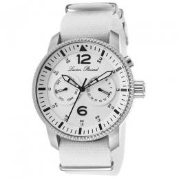 Lucien Piccard LP-13017-02-WHT Men's Expeditor White Dial Fabric Strap Watch