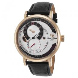 Lucien Piccard LP-15157-RG-02S Men's Supernova Regulator Auto Silver-Tone Dial Black Genuine Leather