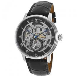 Lucien Piccard LP-40013A-01 Men's Quantum Auto Black Genuine Leather Watch