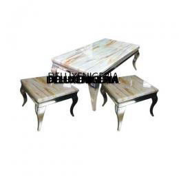 Marble Table And Side Stools Furniture ( 2 Sides Stools)