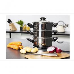 Morphy Richards 3-TIER Steam Cooker 18 Cm, Stainless Steel