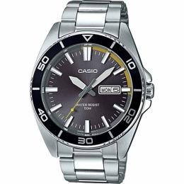 Casio MTD120D-8AV Men's Analog Grey Dial Silver Bracelet Watch