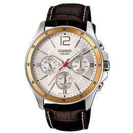 CASIO GENT'S MTP-1374L-7AVDF ENTICER MULTIFUNCTION BROWN LEATHER WATCH