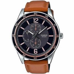 CASIO MTP-E319L-1BVDF MEN'S MULTI-HANDS BROWN LEATHER LARGE FACE WATCH