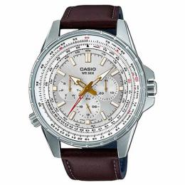 CASIO GENT'S MTP-SW320L-7AVDF MULTI HANDS SILVER DIAL BROWN LEATHER WATCH
