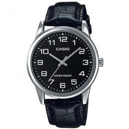 CASIO MTP-V001L-1BUDF MEN'S ANALOG BLACK LEATHER SMALL DRESS WATCH