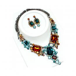 Multi-Coloured Crystal Necklace Set