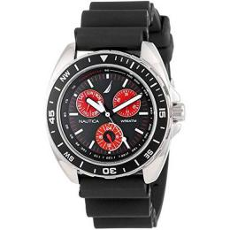 NAUTICA N07577G MEN MULTIFUNCTION BLACK WITH RED ACCENT SUBDIALS WATCH