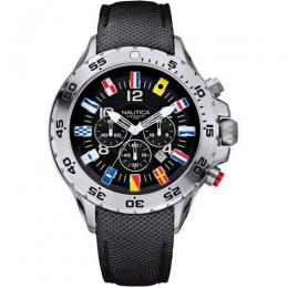 NAUTICA N16553G MEN'S NST CHRONOGRAPH FLAG BLACK DIAL WATCH