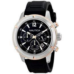 NAUTICA N17654G MEN'S NSR 19 BLACK ROSE GOLD CHRONOGRAPH SPORT WATCH