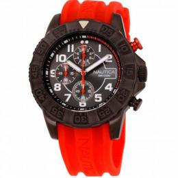 NAUTICA NAD17514G MEN'S NSR 104 BLACK DIAL SILICONE STRAP WATCH