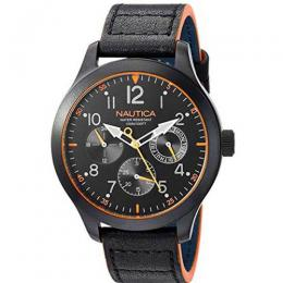 NAUTICA NAPNRL002 MEN'S NORLAND MULTI-FUNCTION BLACK LEATHER WATCH