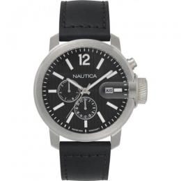 NAUTICA NAPSYD015 MEN'S SYDNEY MULTIFUNCTION BLACK LEATHER WATCH