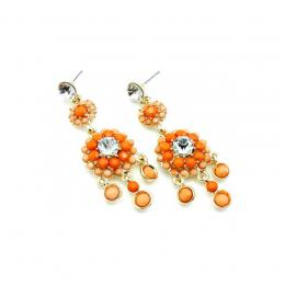 Orange Bead And Crystal Earrings