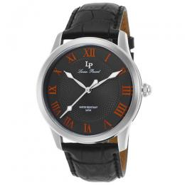 Lucien Piccard LP-40005-014-OA Men's Olympus Gunmetal Dial Orange Accents Black Genuine Leather Watch