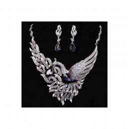 Purple Swan Crystal Necklace Set