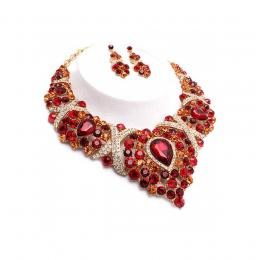 Ruby Red Crystal Necklace Set
