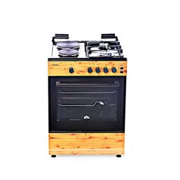 SCANFROST CK-6222 NG - 60X60 CMS, WOOD FINISH, 2 GAS BURNERS 2 HOT PLATES, GAS OVEN + GRILL + TURNSPIT
