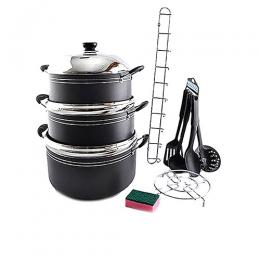 Sumo Premium 6Pc Non Stick Cookware Set S-7017 + 6 Kitchen Tools + 1 Rack + 1 Pot Stand + Sponge