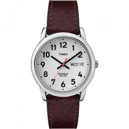 TIMEX T20041 MEN'S EASY READER BROWN LEATHER STRAP SMALL SIZE WATCH