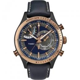 TIMEX T2P727 MEN'S INTELLIGENT QUARTZ CHRONOGRAPH BLUE LEATHER WATCH