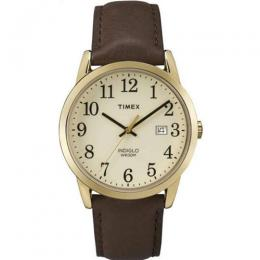TIMEX TW2P75800 MEN'S EASY READER CHAMPAGNE DIAL BROWN LEATHER SMALL SIZE WATCH