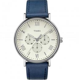 TIMEX TW2R29200 MEN'S SOUTHVIEW MULTIFUNCTION BLUE LEATHER MEDIUM SIZE WATCH