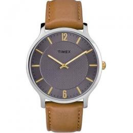TIMEX TW2R49700 MEN'S SKYLINE SLIM STAINLESS STEEL GREY DIAL BROWN LEATHER MEDIUM SIZE WATCH