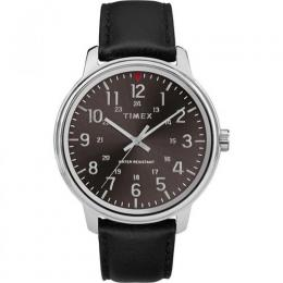 TIMEX T2R855 MEN'S CLASSIC BRUSHED BLACK DIAL BLACK LEATHER WATCH